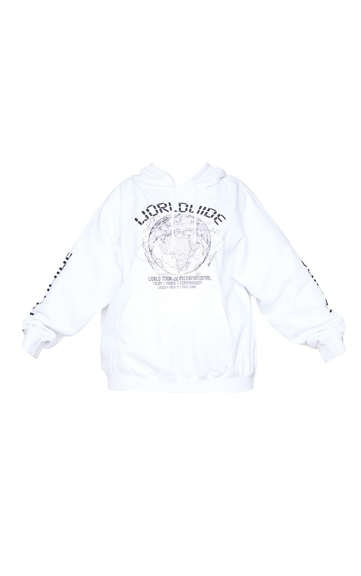 Plus White Worldwide Oversized Slogan Hoodie 5