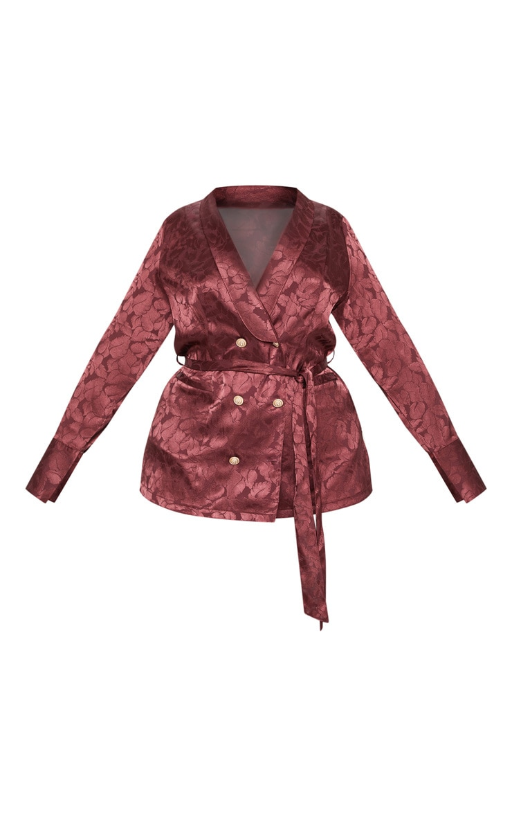 Plus Burgundy Satin Jacquard Long Line Blazer 3