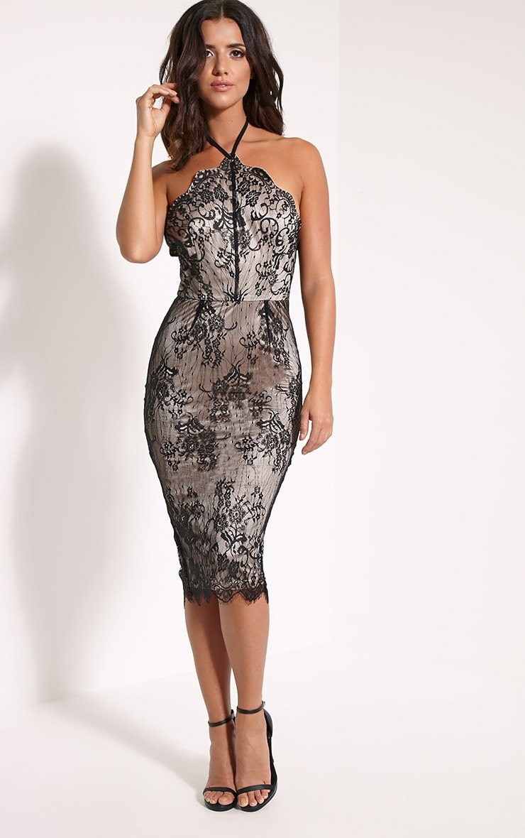 Callie Black Lace Halterneck Midi Dress 4