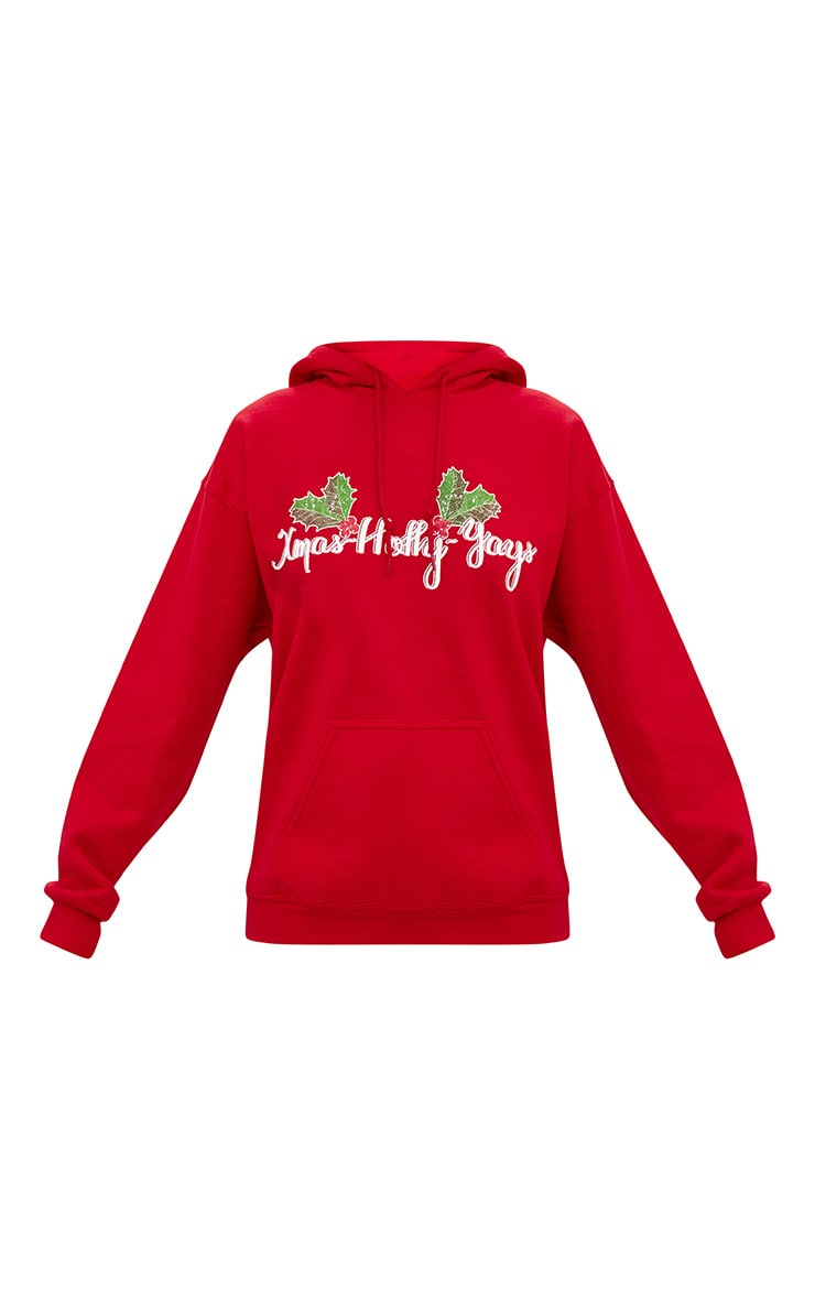Red Happy Holly Yays Christmas Slogan Hoodie 3