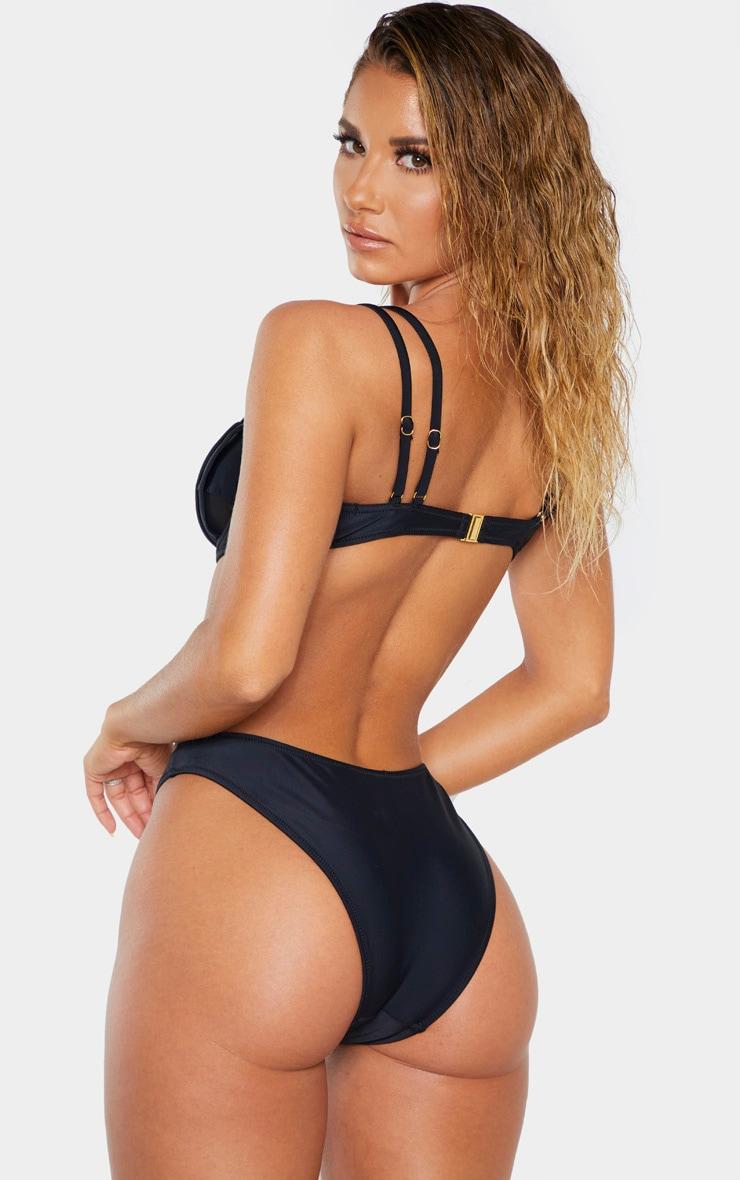 Black Underwired Mesh Cut Out Bikini Top 2