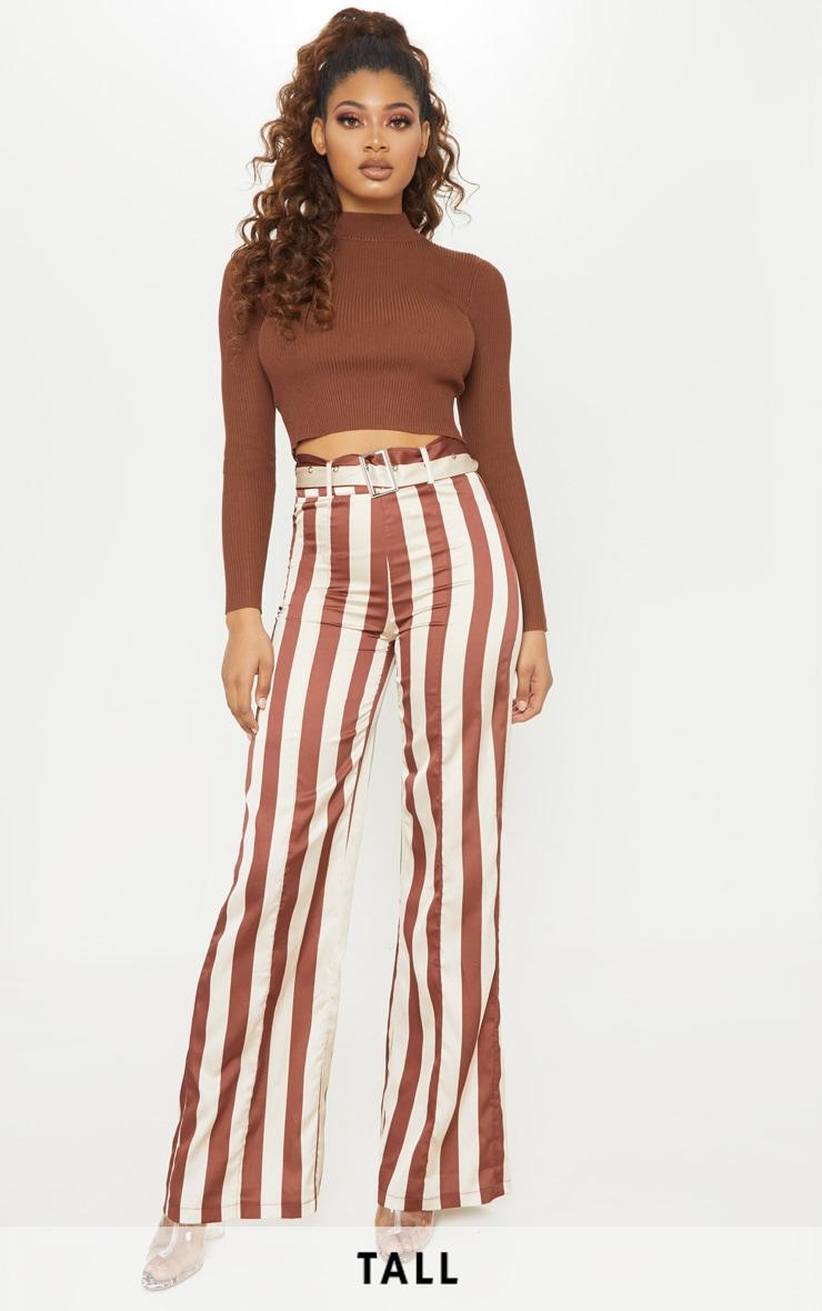 Tall - Pantalon évasé tissé marron chocolat à détail ceinture 1
