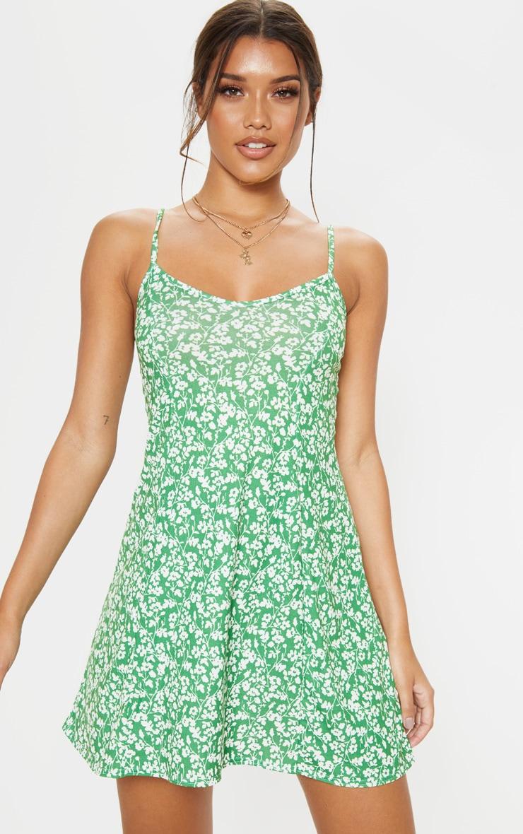 5659ac4b97cc0 Robe bretelles droite verte à imprimé petites fleurs