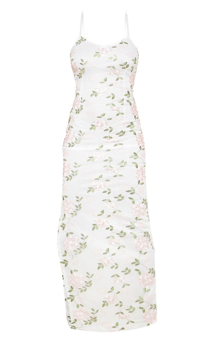 Petite White Strappy Embroidered Floral Print Maxi Dress