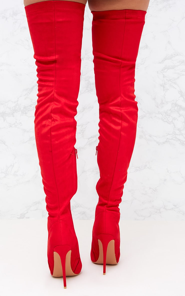Red Faux Suede Thigh High Heeled Boots  4