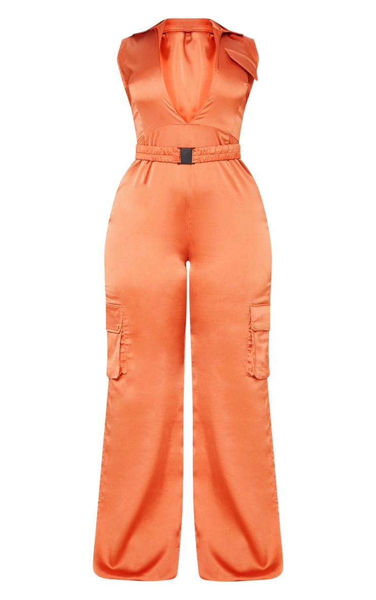Rust Plunge Utility Pocket Detail Jumpsuit 4