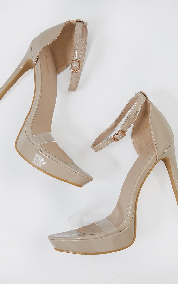 Nude Clear Strap Platform Heeled Sandals 4