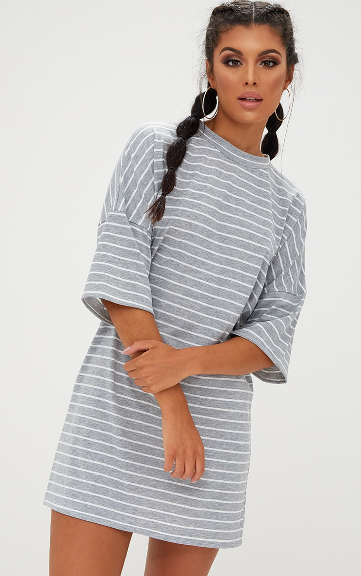 Grey Striped Oversized T Shirt Dress 1