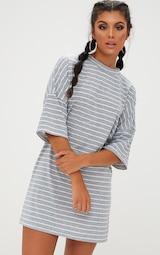Grey Striped Oversized T Shirt Dress 1