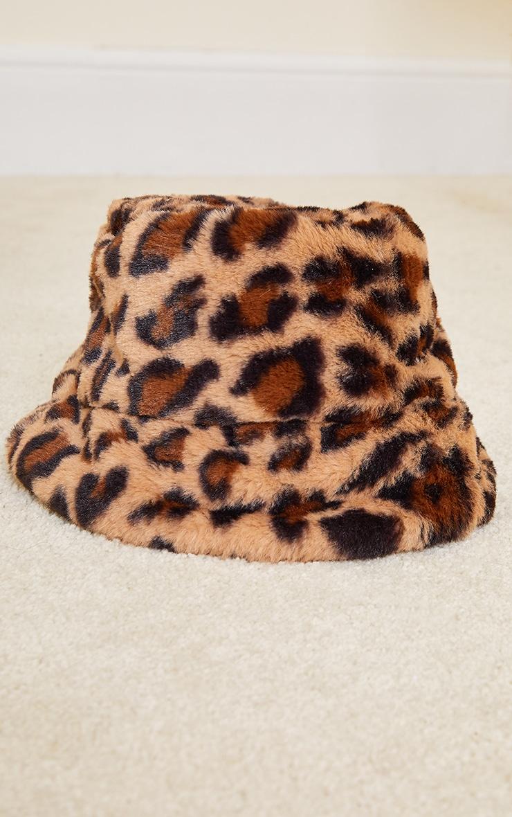 Brown Faux Fur Leopard Bucket Hat 2