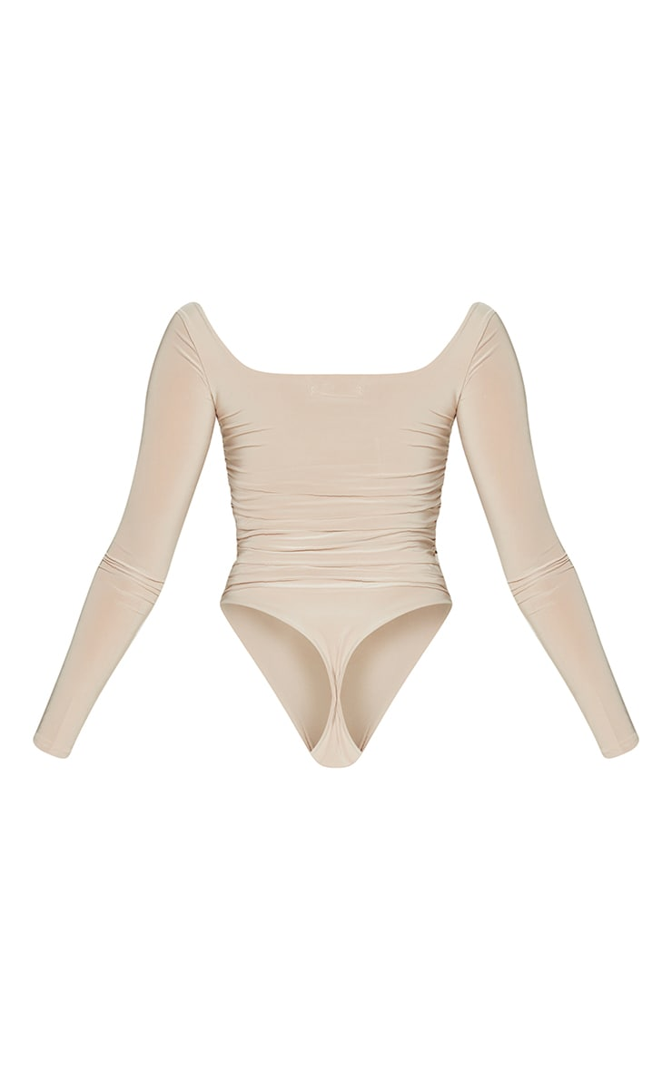 Stone Slinky Ruched Long Sleeve Square Neck Bodysuit 6