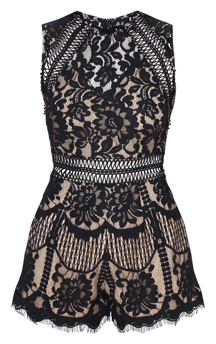 Black Lace Waist Trim Romper 3
