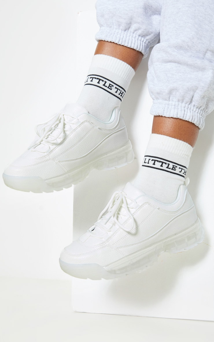 White Bubble Sole Trainer 1