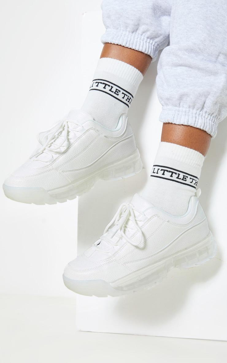 White Bubble Sole Sneakers 1