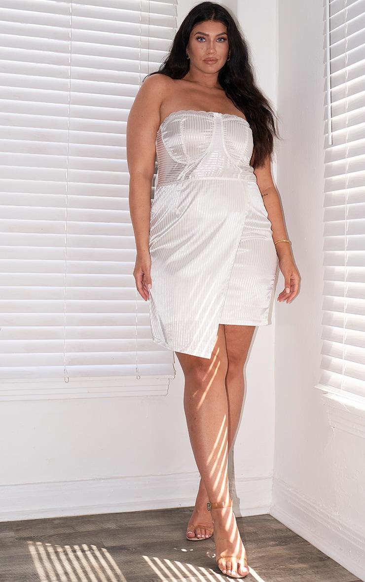 Plus White Satin Lined Trim Cup Detail Wrap Bodycon Dress 1