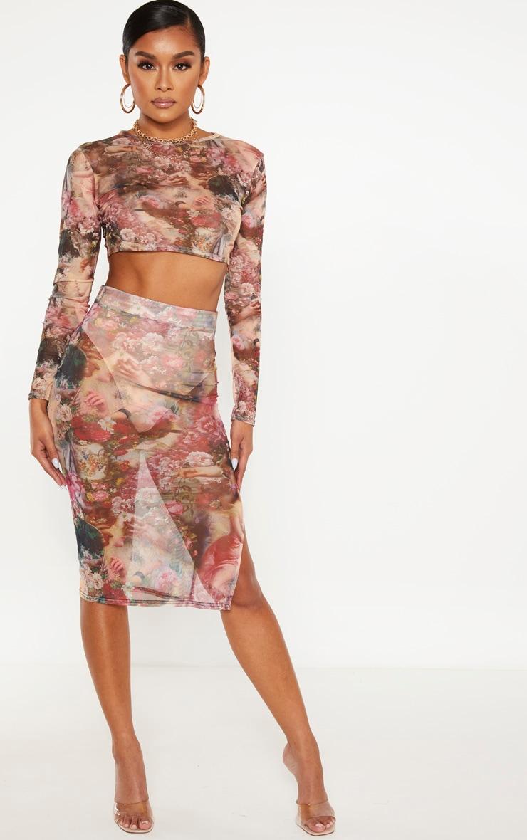 Camel Renaissance Print Mesh Midi Skirt  1