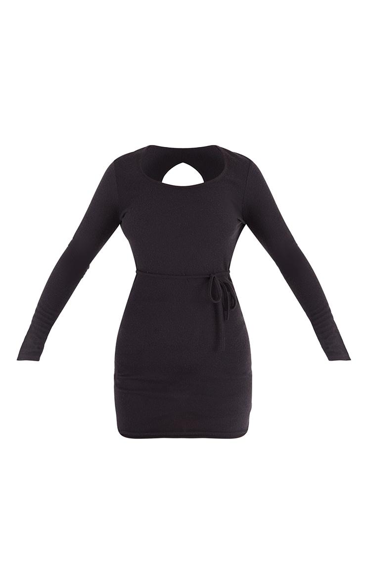 Black Brushed Rib Wrap Back Tie Detail Bodycon Dress 5