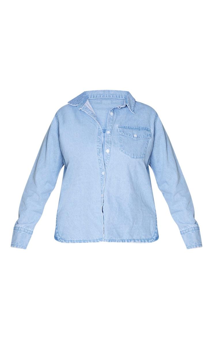 Plus Light Blue Wash Fitted Denim Shirt 3