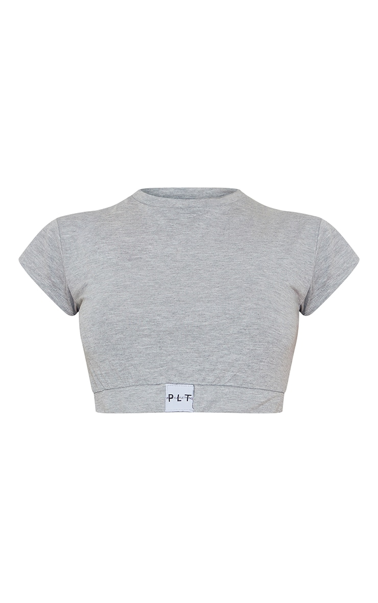 PRETTYLITTLETHING Grey Mix And Match Logo Tape Lounge T-Shirt 5