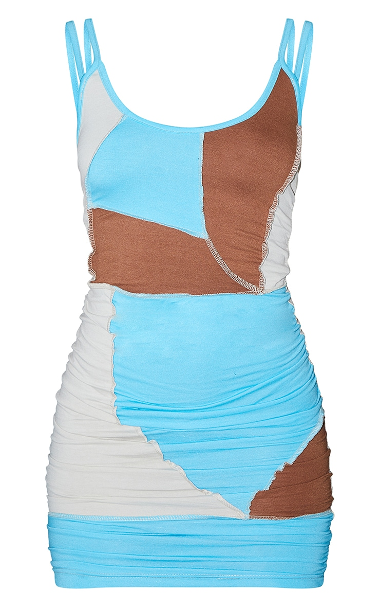 Blue Strappy Contrast Panel Detail Exposed Seam Bodycon Dress 5
