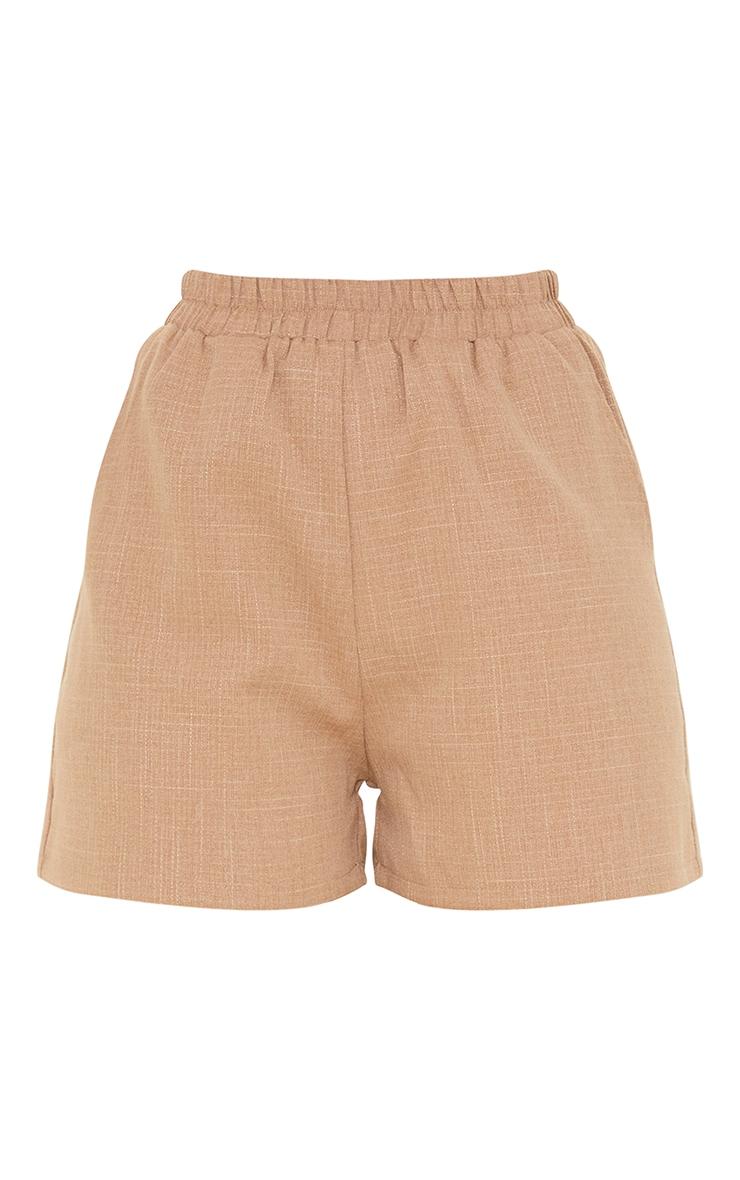 Mocha Textured Woven Elasticated Hem Floaty Shorts 6