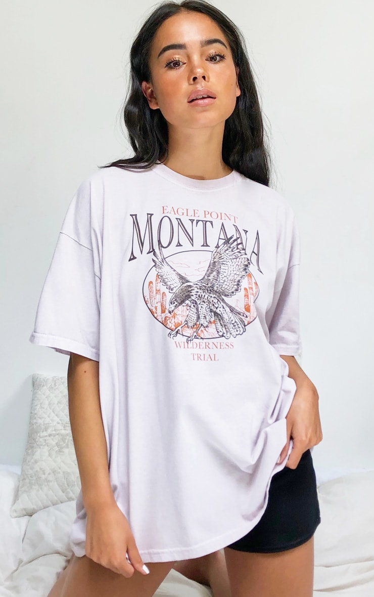Nude Montana Logo Oversized Washed T Shirt 1