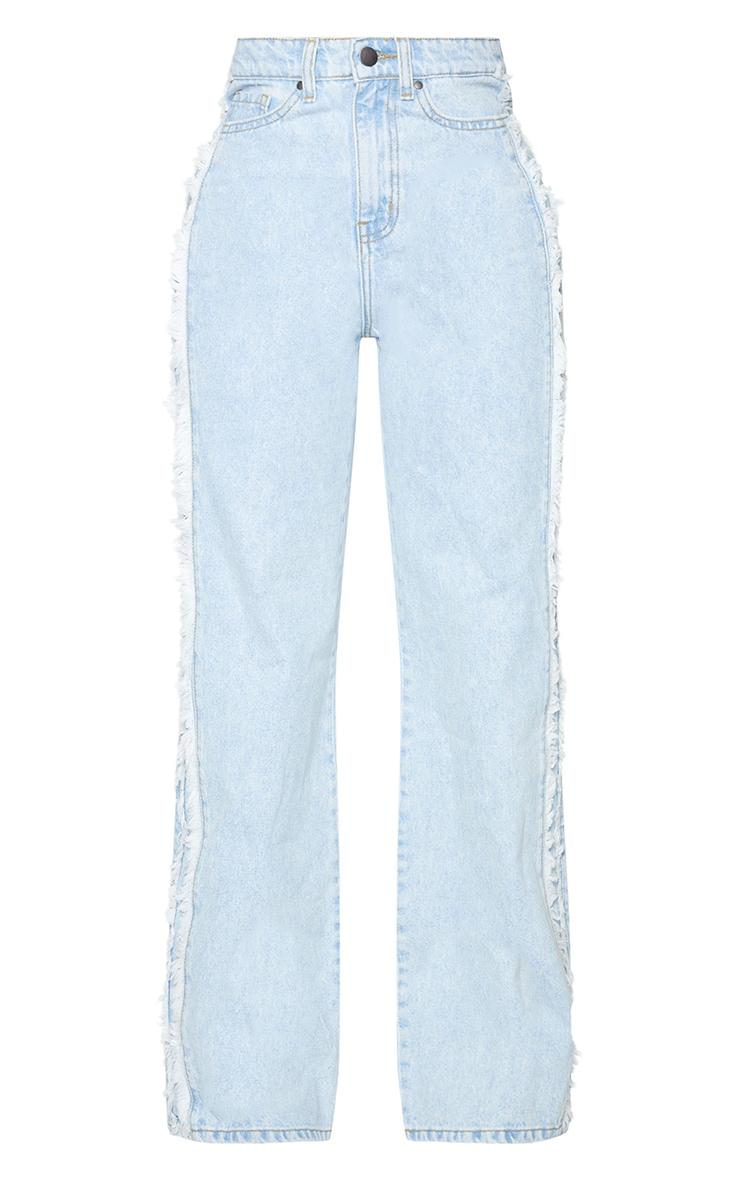 Shape Vintage Wash Fray Side Detail Wide Leg Jeans 5
