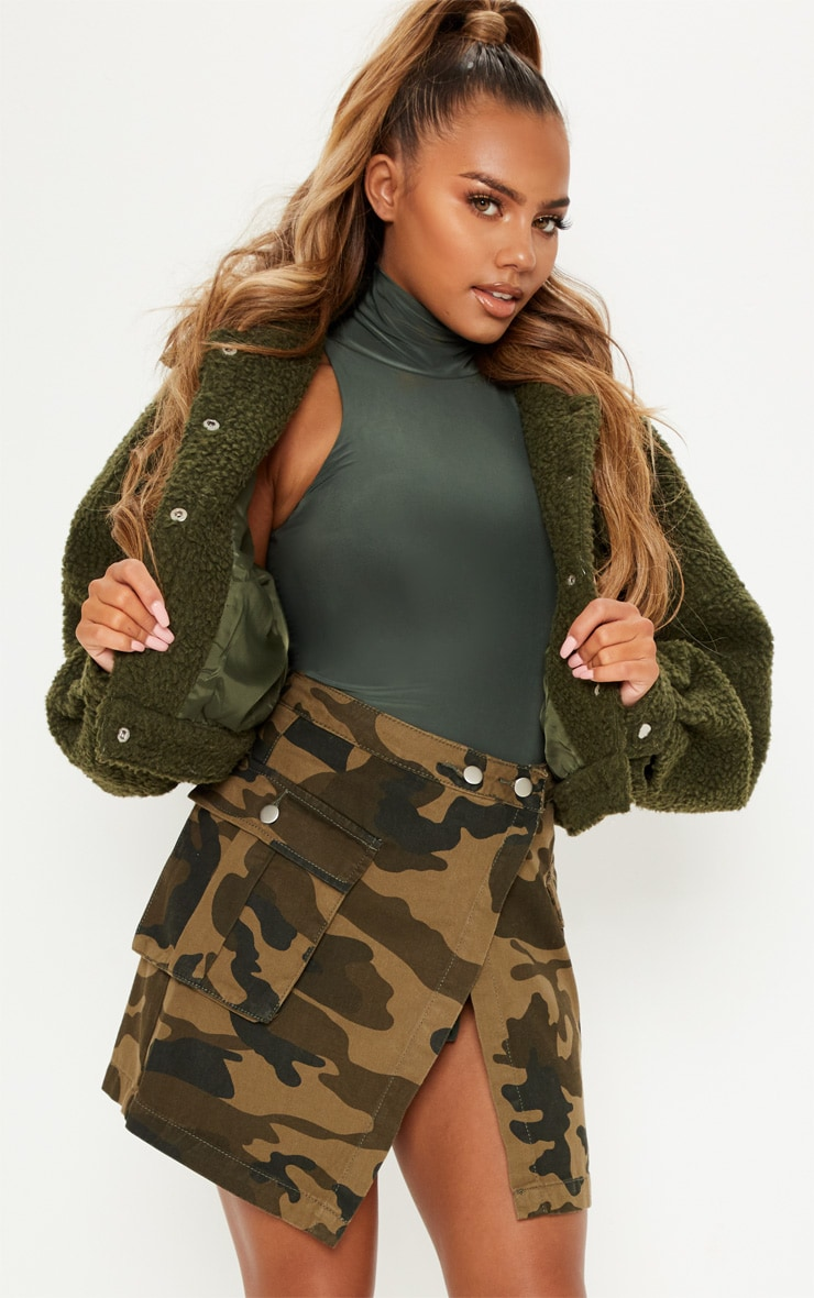 Camo Cargo Pocket Denim Skirt