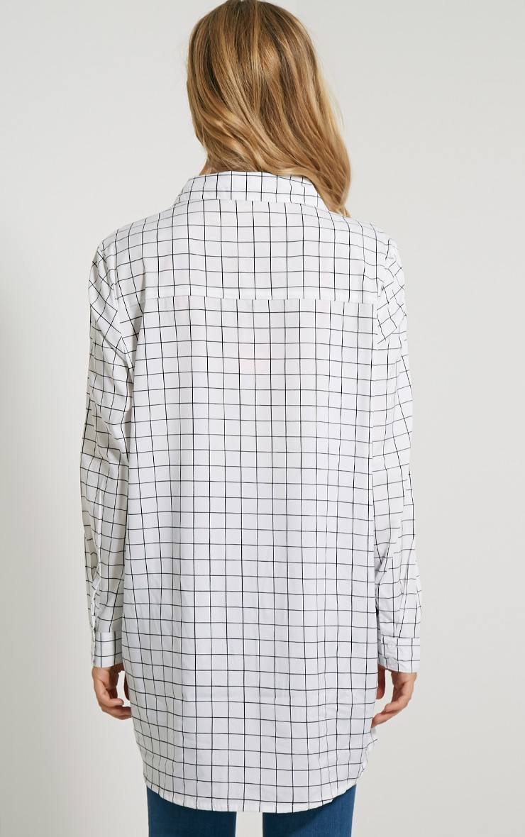 Flora White Check Shirt 2