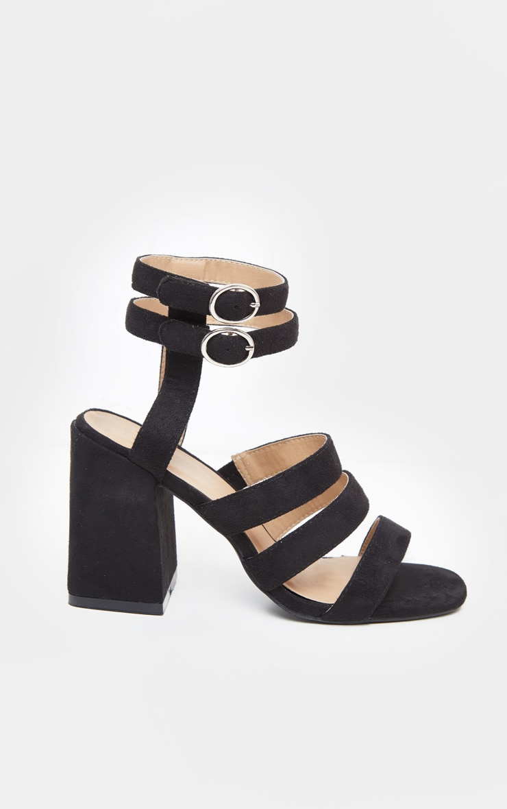 Black Double Buckle Strappy Block Heel Sandal 4