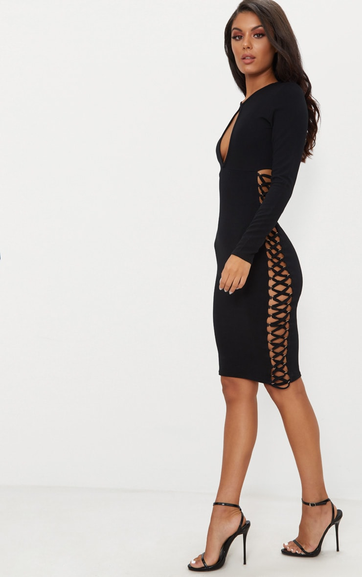 Black Cut Out Top Lace Up Side Midi Dress  1