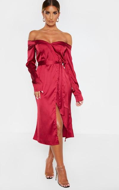 Burgandy Satin Bardot Lapel Detail Wrap Midi Dress
