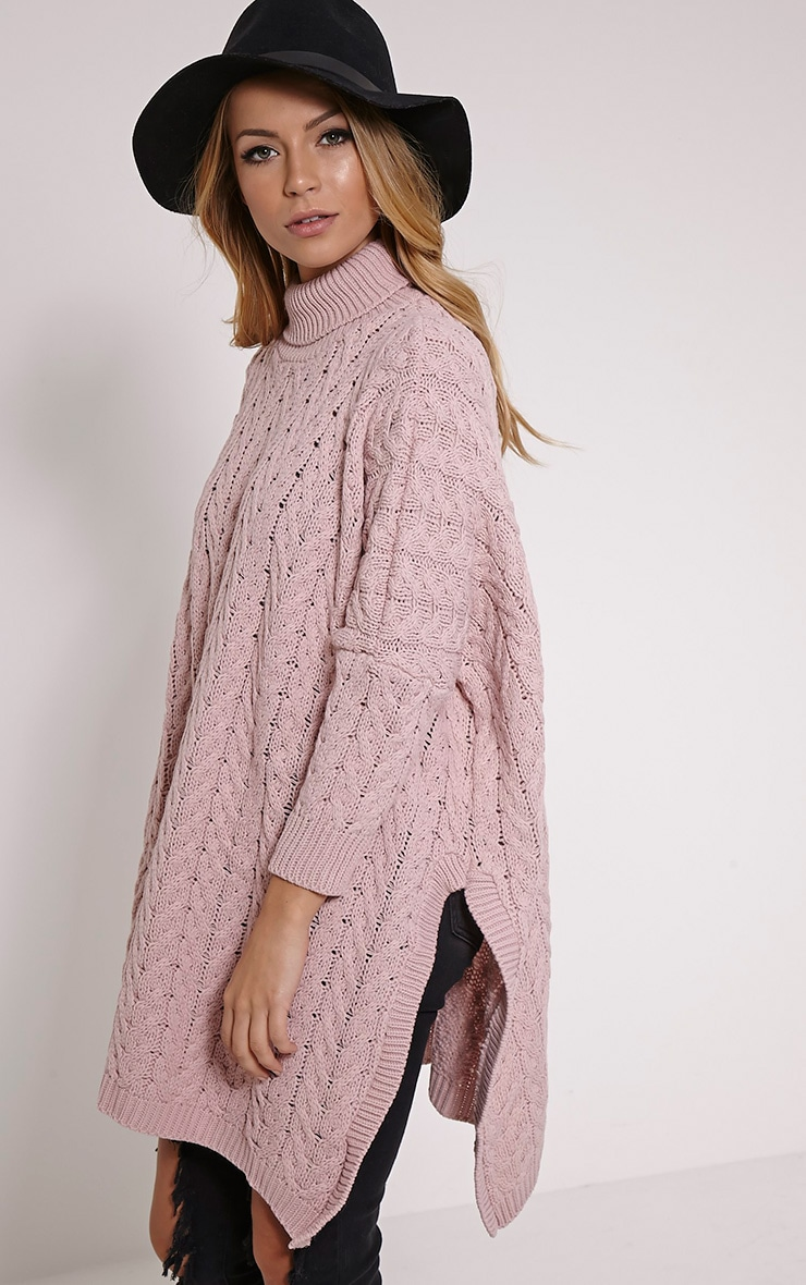 Juju Dusty Pink Cable Knit Oversized Jumper 4
