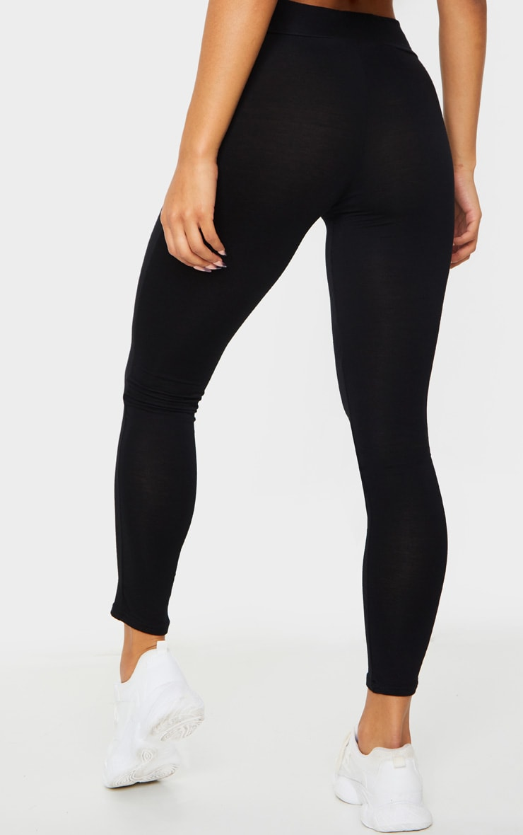 Basic Black High Waisted Jersey Leggings 3