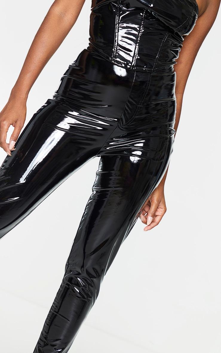 Black Vinyl Pocket Detail Skinny Trousers 4