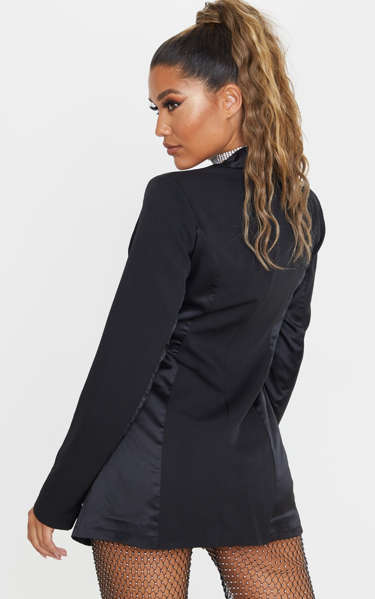 Black Satin Contrast Fitted Longline Blazer 2