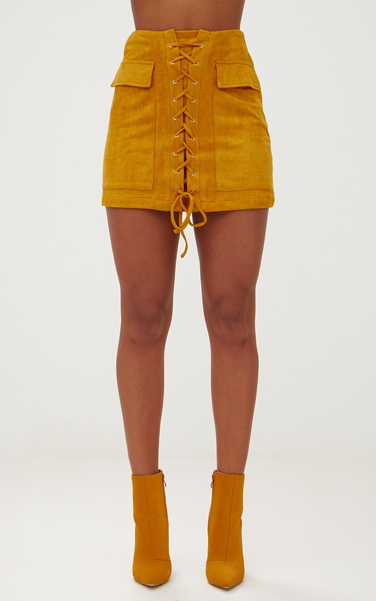 Mustard Faux Suede Lace Up Mini Skirt  2