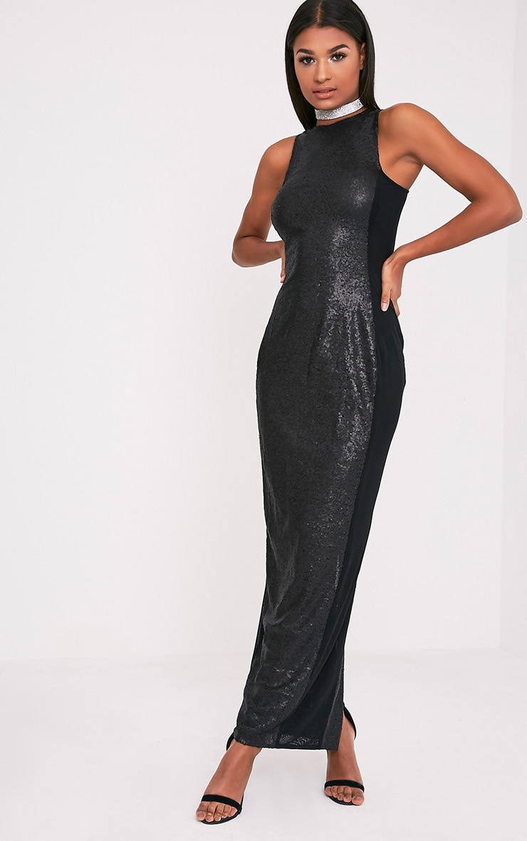 Carsie Black Sleeveless Sequin Maxi Dress 1