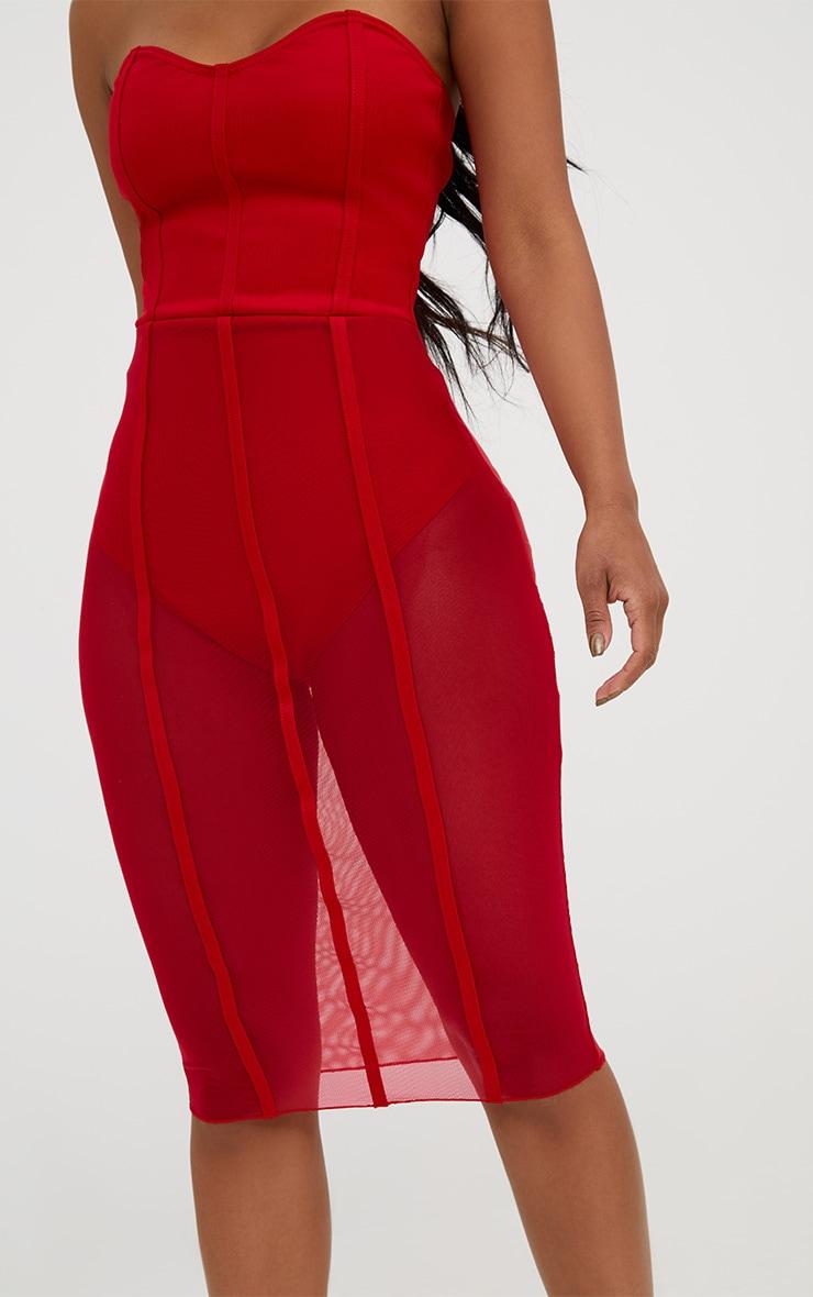 Shape Red Bandeau Mesh Insert Dress 5