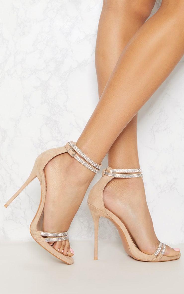 Nude Diamante Jewel Strappy Sandal 1
