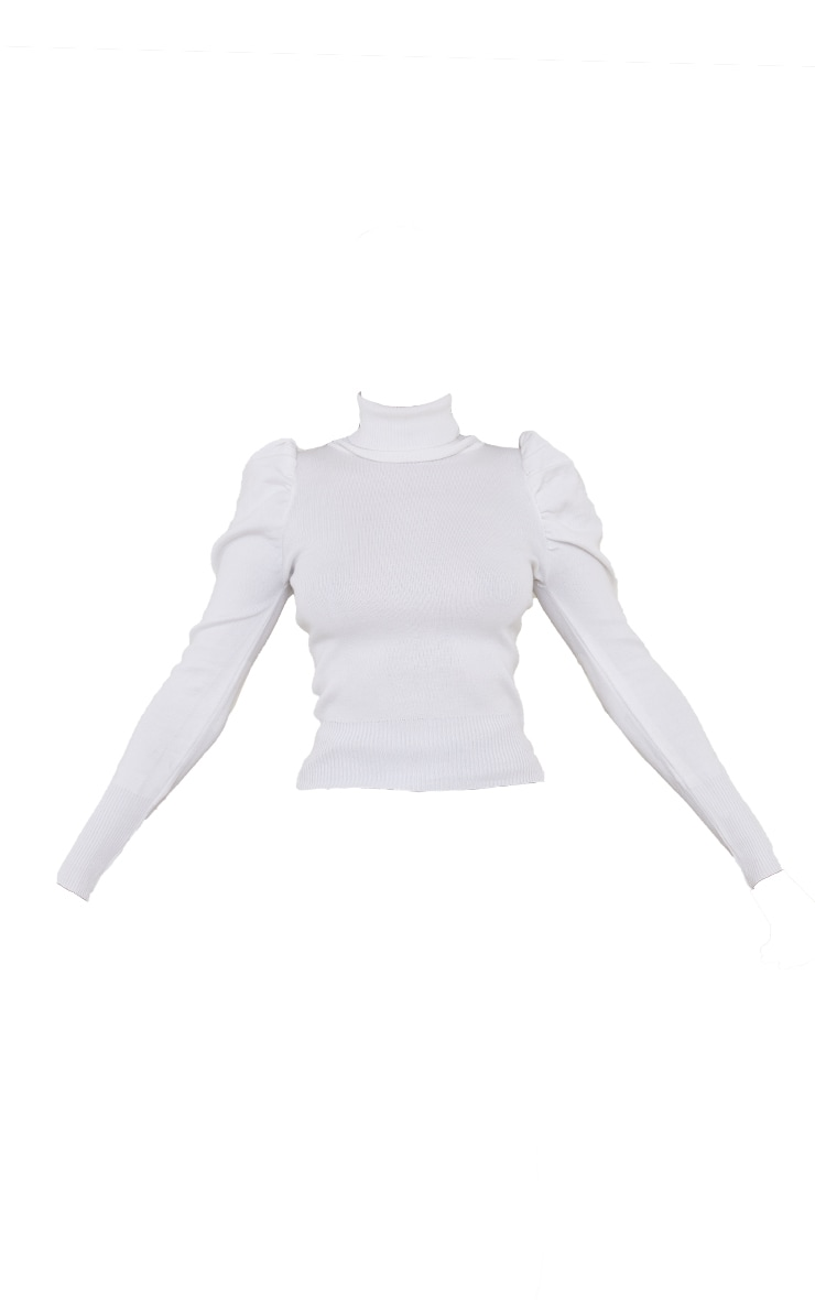 White Roll Neck Puff Shoulder Jumper 5