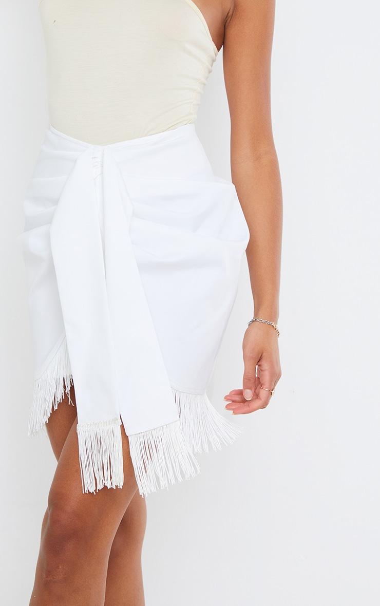 White Woven Tassel Tie Waist Wrap Skirt 5