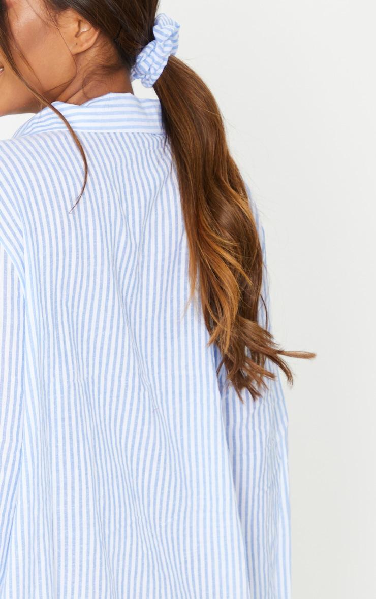 Blue Striped Open Collar Cotton Oversized Nightshirt With Scrunchie 4