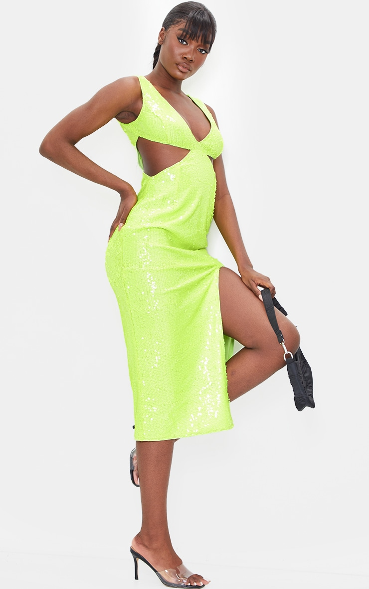 Tall Lime Sequin Cut Out Dress 3