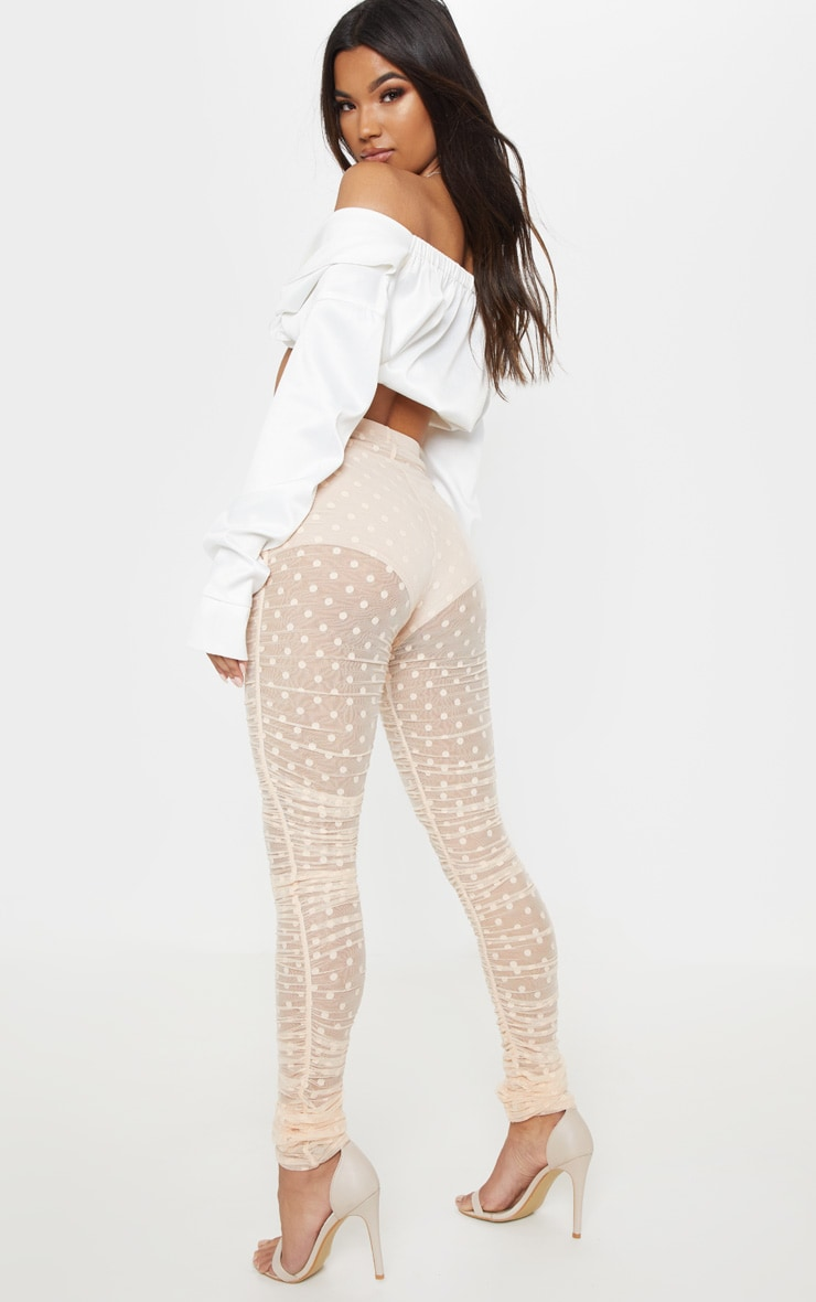 Nude Dobby Mesh Ruched Legging 1