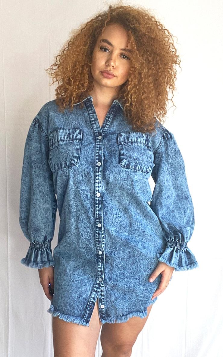 Plus Acid Blue Wash Denim Fray Hem Shirt Dress 1