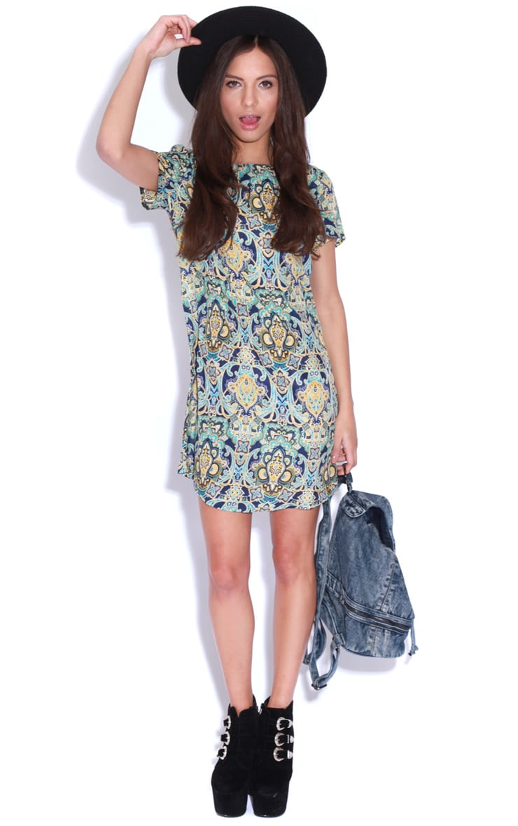 Drew Blue Flock Print Shift Dress 2