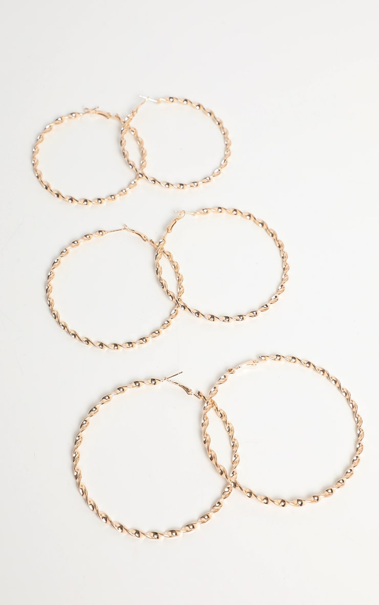 Gold Small Medium Large Twist Hoop Earring Pack 1