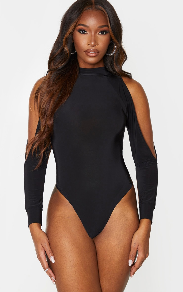 Black Slinky Split Long Sleeve Bodysuit 2