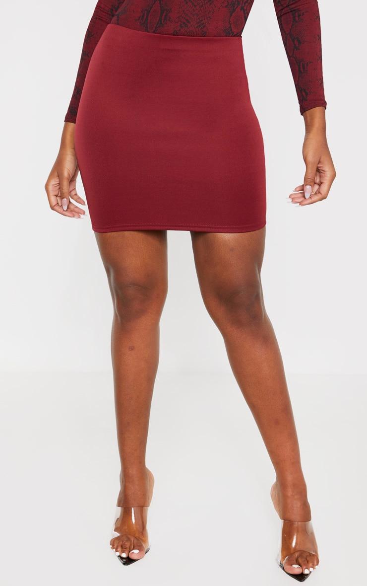 Burgundy Scuba Mini Skirt  2